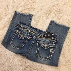 MISS ME JE605C5 Crop Sequins Pocket Flaps Denim
